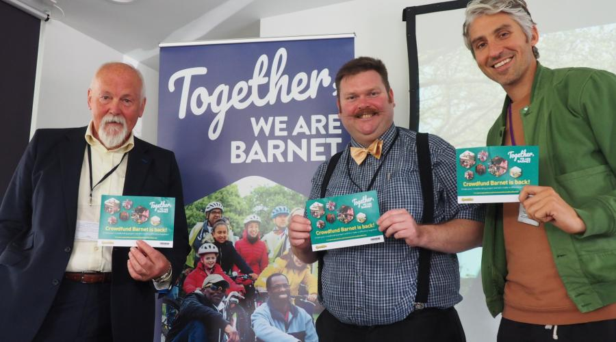Bob Burstow, Organiser of the Barnet Teenage Market; Councillor Reuben Thompstone, Chair of the Community Leadership and Libraries Committee; George Lamb, TV and radio personality and Founder of GROW.