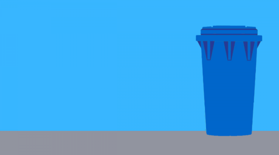 Image of a blue recycling bin