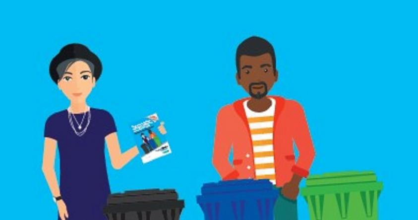cartoon image of people with bins