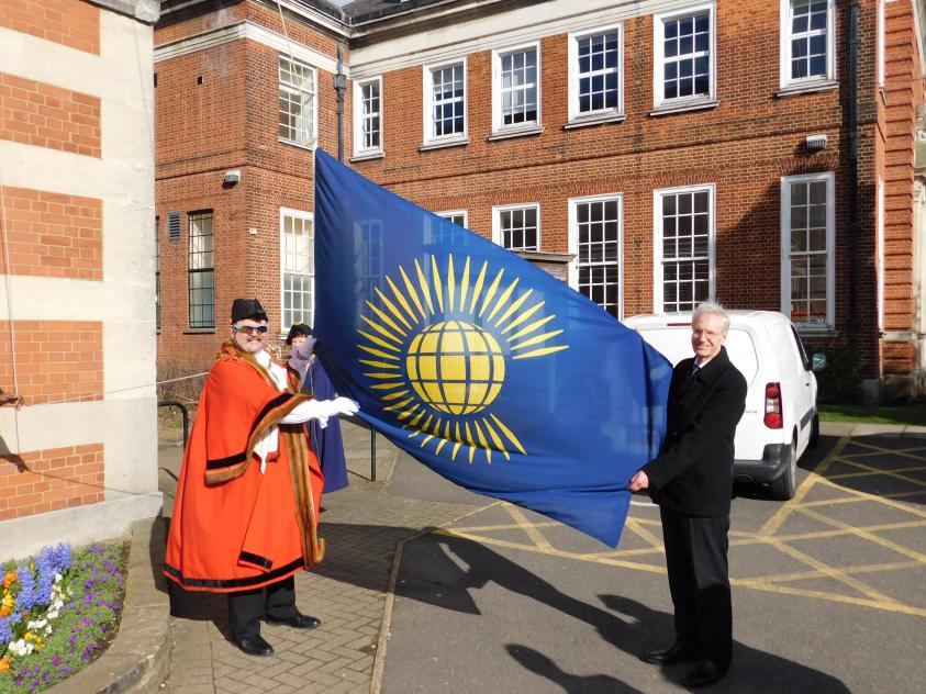 Mayor of Barnet raising Commonwealth Day Flag at Town Hall