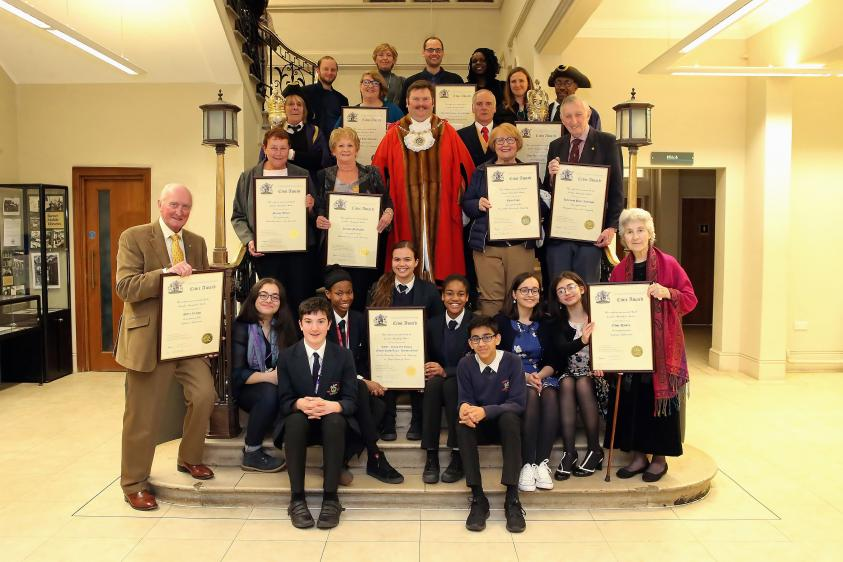 Barnet Civic Awards 2019 winners, with the Worshipful Mayor of Barnet, Councillor Reuben Thompstone